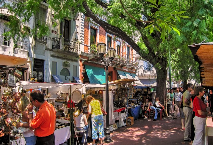 Tourists Shop In San Telmo Flea Market In Old Town Buenos Aires, Argentina.